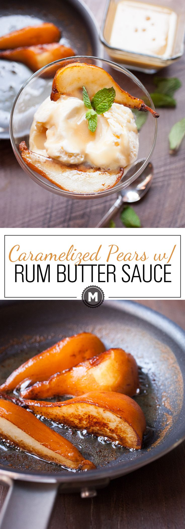 Caramelized Pears with Butter Rum Sauce: A perfect fall/winter dessert and a great excuse to bust out the ice cream even if it's chilly outside! The sauce on this is crazy delicious! | macheesmo.com