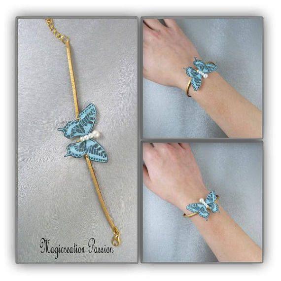 bracelet papillon de soie turquoise sur cordon suédine doré