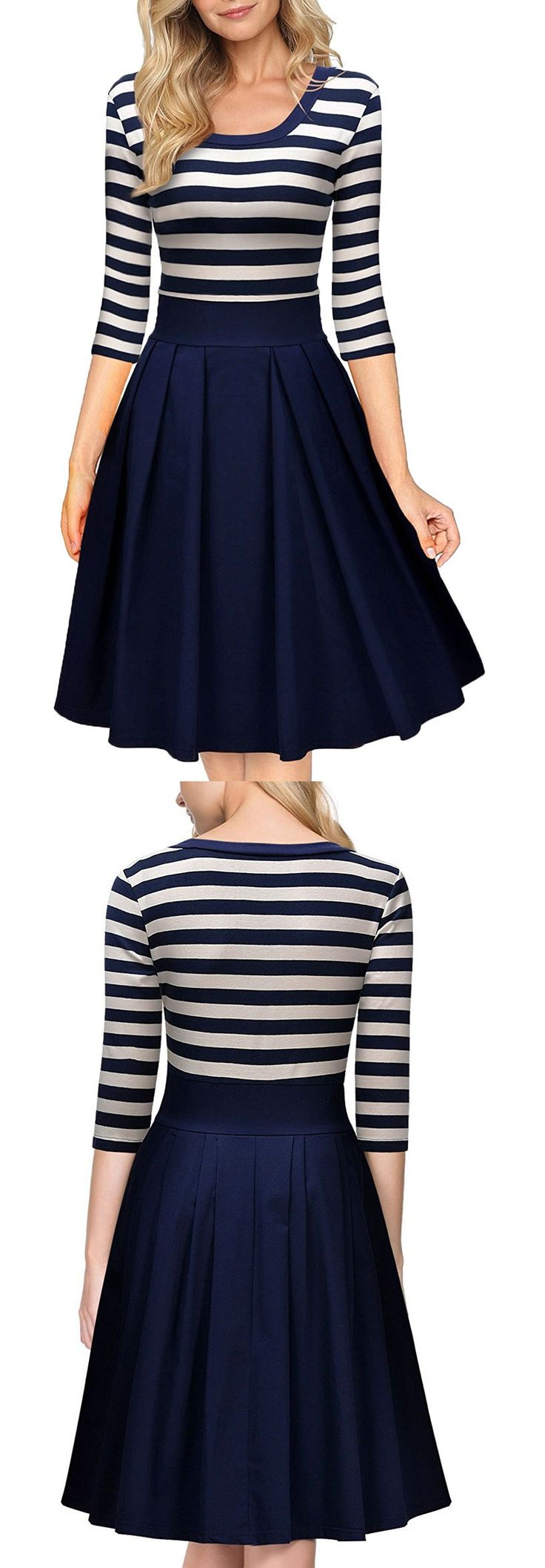 Striped is the most classic elements that you can't miss. Just try this combo dress and change another moods.