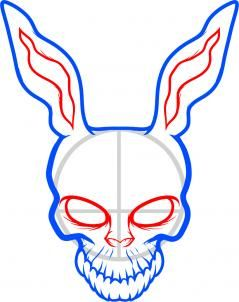 how to draw frank the rabbit, donnie darko step 5