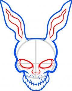 how to draw frank the rabbit, donnie darko step 5