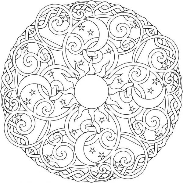 17 Best Images About Coloring Book On Pinterest Coloring Sun Moon Mandala Coloring