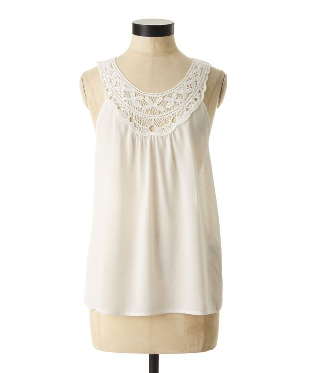 Sleeveless top by only with crochet detail along the neckline