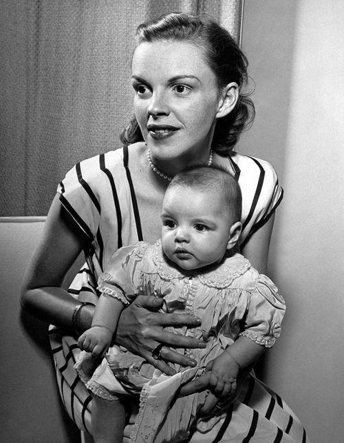 Judy Garland with her daughter Liza Minnelli c. 1947.  For my high school students, JG was in Wizard of Oz and Liza Minnelli eventually became a vocalist.