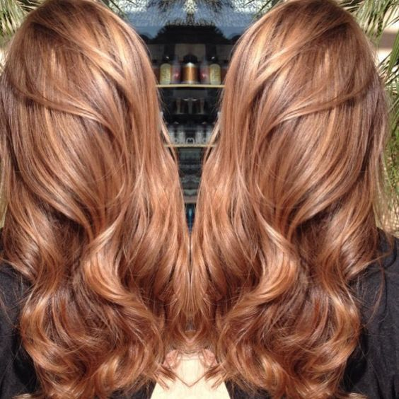 Auburn Caramel Dye hair chocolate brown with baylayge of this