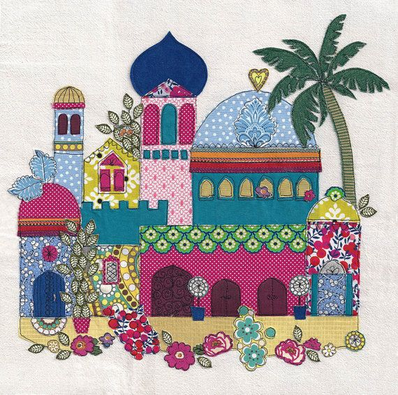 Bright Middle Eastern landscape with buildings. Print of original textile artwork 'Paradise'. Applique & Machine free motion embroidery.