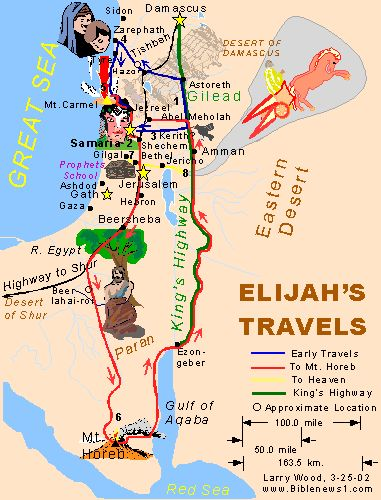 Map Of Elijah S Travels