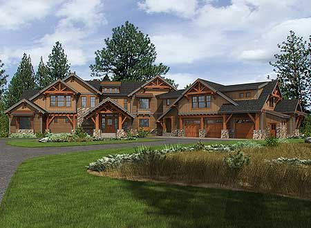 Architectural Designs 6 Bed Mountain Retreat House Plan 23612JD. That's a mouthful to type. And it is a beauty to behold.  Over 8,000 square feet of living including the bonus room over the 3 car garage.  Ready when you are. Where do YOU want to build?