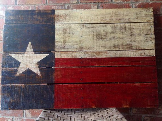 Texas State Flag - Hand Painted on Reclaimed Pallet Wood - Wall Hanging |  More Pallet wood walls ideas - Texas State Flag - Hand Painted On Reclaimed Pallet Wood - Wall