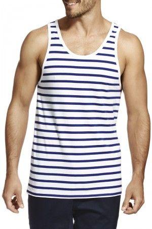 Bonds Stripe Tank White & Deep Blue AYNAI 01R