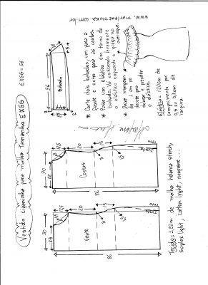 Esquema de modelagem de vestido ciganinha para malha tamanho EXGG.