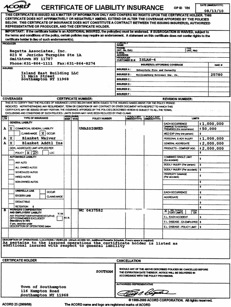 free Sample Printable Certificate Of Liability Template ...
