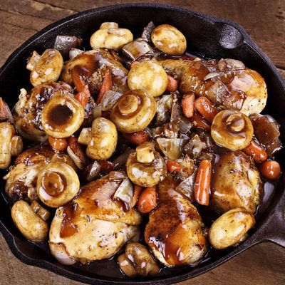 Ingredients  4 pounds assorted bone-in, skin on chicken pieces (breasts and thighs)  2 pounds mushrooms (cremini, white, or baby bella), cleaned of any dirt or particles  2 cups low-sodium chicken broth  3/4 cup balsamic vinegar  1/4 cup red wine vinegar  1/4