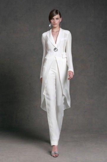 Completo elegante bianco di Donna Karan - Abito da cerimonia con pantalone bianco di Donna Karan