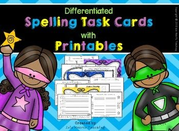 These spelling task cards can be used with ANY spelling list! The activities come in three levels (low, middle and high) and are an excellent way to differentiate student learning experiences. In addition, this pack includes three leveled booklets (to match the task cards), three student checklists and motivational certificates for each level.
