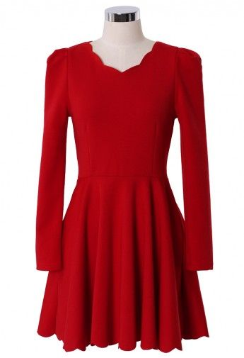 Scrolled Trim Rose Red High Waist Dress