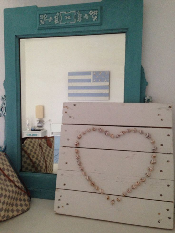Seashell heart canvas done with annie sloan chalk paint - Much love