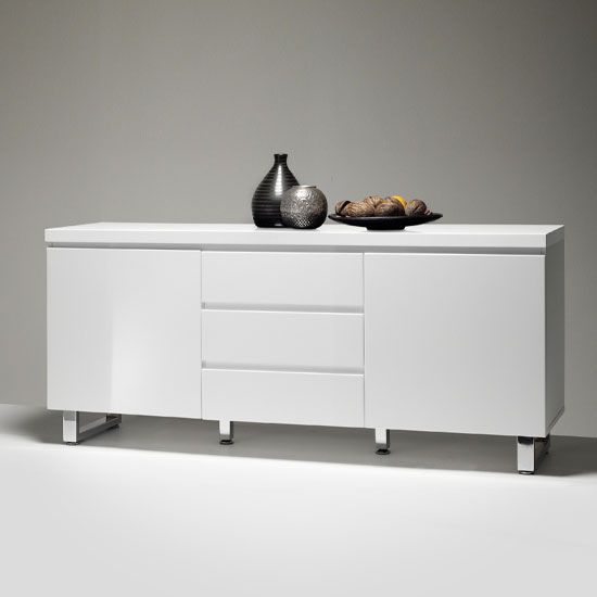 Sydney 2 Door Large Sideboard In High Gloss White With 3 Drawer - Buy High Gloss Sideboard, Furnitureinfashion UK