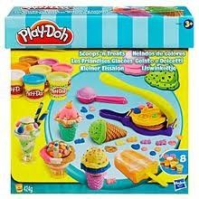 Play-doh Scoops 'N Treats by Hasbro. $28.25. Ages 3+. Play Doh scoops n Treats. make popsicles, sundaes and more. 8, 2oz play doh cans including. Play Doh scoops n treats.  Contents: waffle maker, waffle roller, ice cream scoop, popsicle mold, 2 ice cream dishes, 2 ice cream cones and 8, 2 oz cans of Play-Doh modeling compound.   Fun to play not is eat.  Contain wheat.