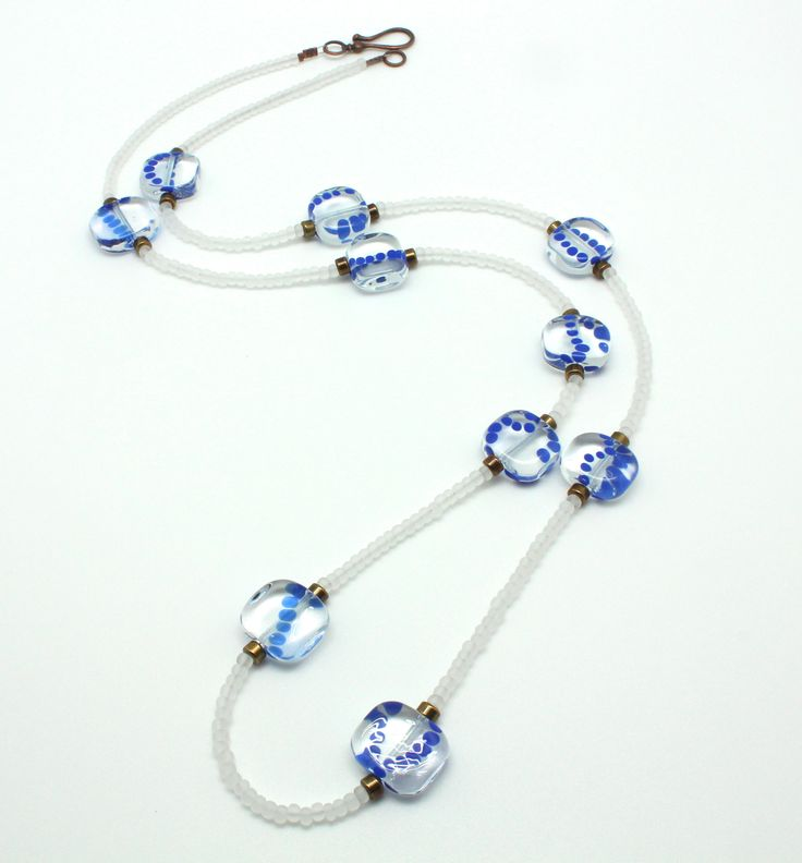 Tabitou cobalt blue and white necklace #Unique #piece #handcrafted  #Tabitou (tu habites où ? where do you live ?) #transparent #squared off #beads with #cobalt #blue dots are all #handmade on the torch with #Murano #glass  Little white #sandblasted beads are #vintage from #Murano. #crafts #sale