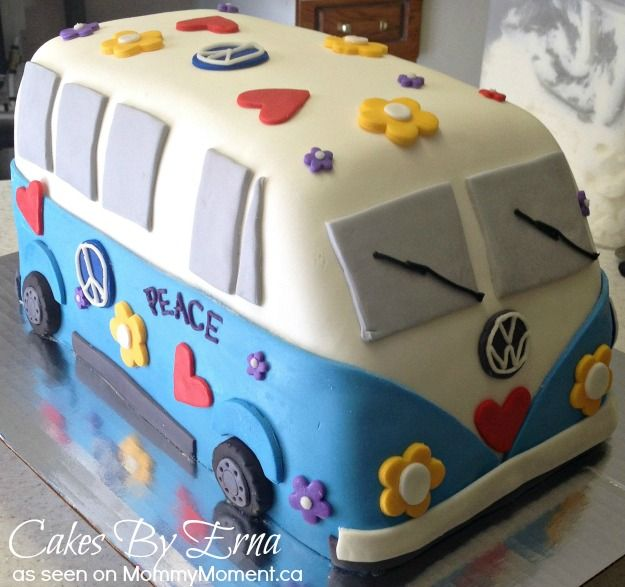 Volkswagen Hippie Cake - This Cakes By Erna Creation is in the fun category! Who doesn't love throwing on random hearts and flowers onto a cake.