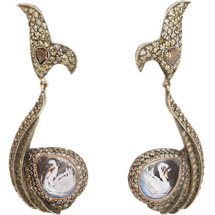 Sevan Bicakci Diamond & Blue Topaz Swan Earrings