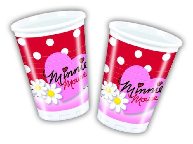 Bicchieri in plastica Minnie, fondo rosso su pois bianchi. 10 pz. Per feste a tema Topolino e Minnie o feste di compleanno. Disponibili da C&C Creations Store