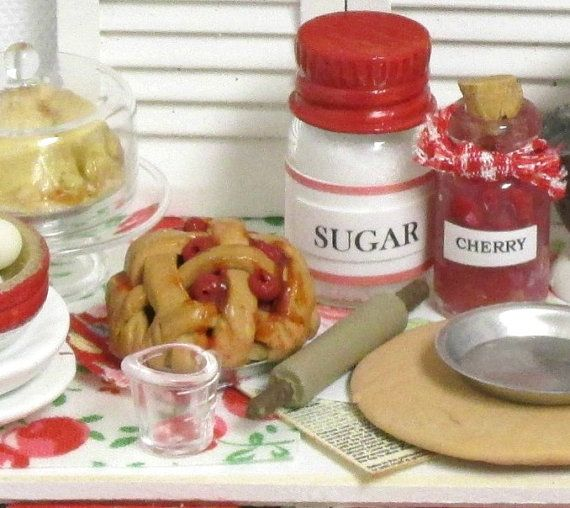 Cherry Pie Prep Scene with Table Shutters and by RibbonwoodCottage, $140.00
