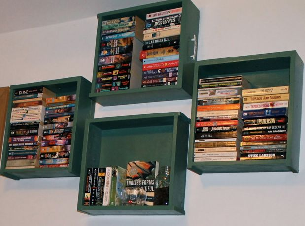 nice inside idea for drawers found on the curb.. a little vertical cubby or bookshelf!
