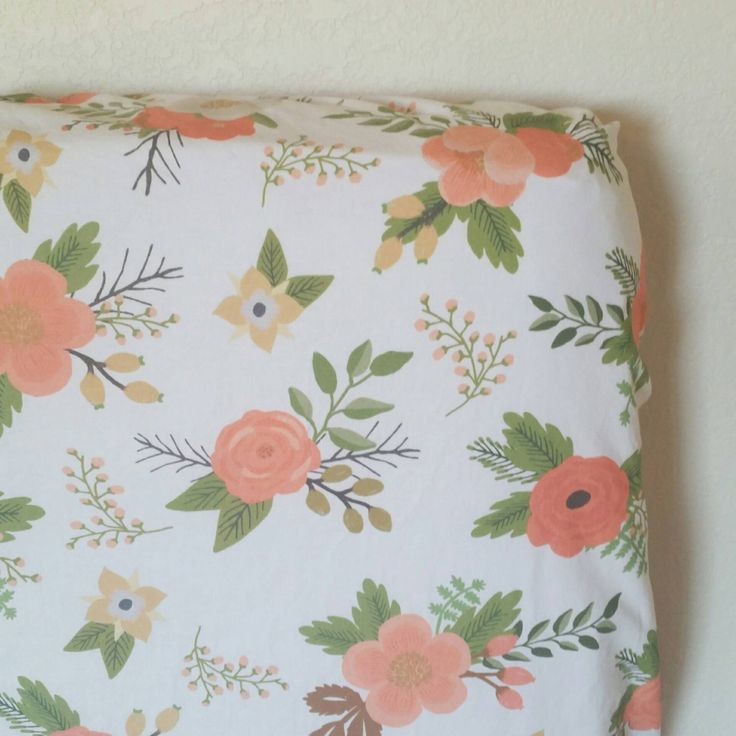 Baby Crib Sheet - Floral Crib Sheet - Girls Baby Sheet - Baby Shower Gift - Coral Crib Sheet - Toddler Sheet - Floral Changing Pad Cover by KadydidDesigns on Etsy https://www.etsy.com/au/listing/468648839/baby-crib-sheet-floral-crib-sheet-girls