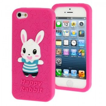 iPhone 5/5S Cases : Cute Bunny Silicon Case for iPhone 5 & 5s - Magenta