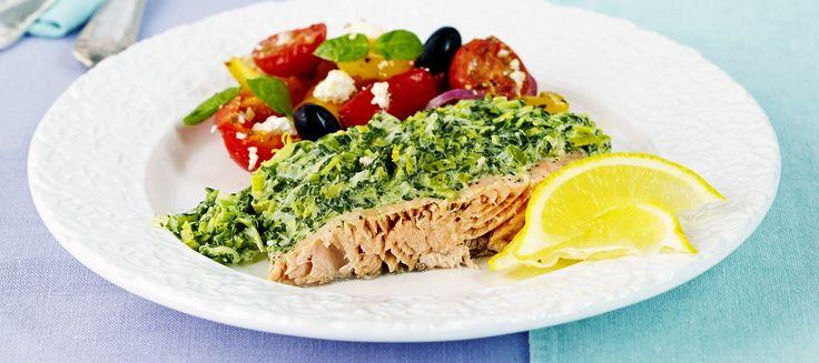 Uunilohi ja mascarpone-pinaattikastike | Pääruoat | Reseptit – K-Ruoka