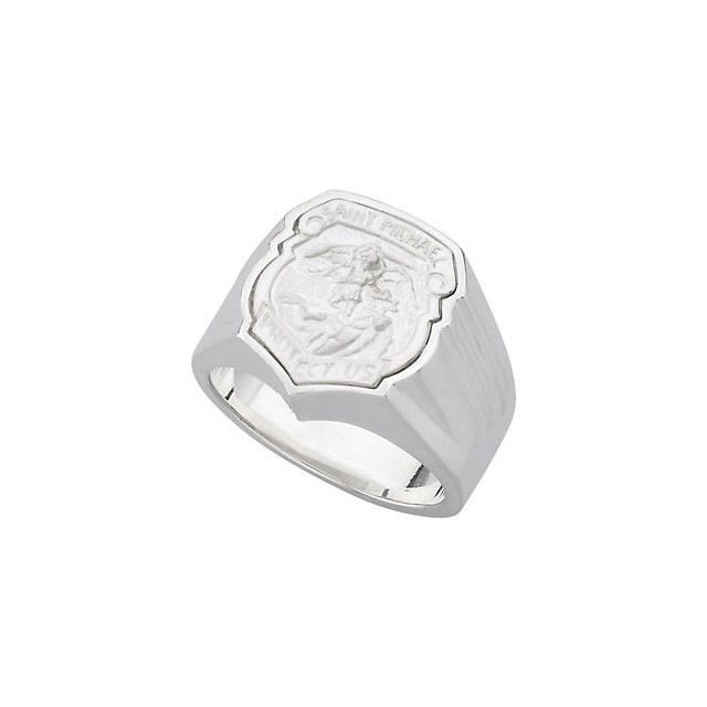 St Michael Badge Ring Sterling Silver, Police, St Michael Medal, St Michael Badge, Catholic Ring, Police Ring