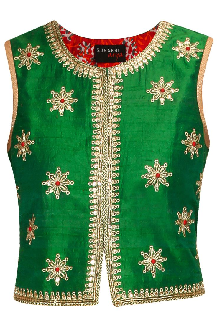 Green marodi embroidered traditional short jacket available only at Pernia's Pop-Up Shop.