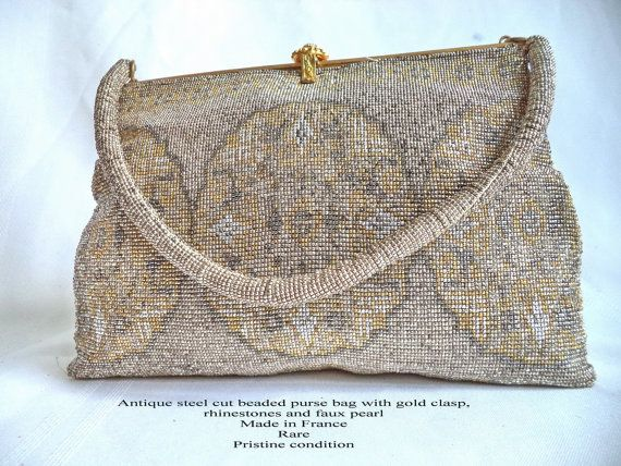 Antique French Steel Cut Beaded Purse gold by MushkaVintage3
