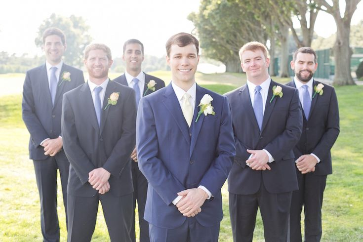 Daniel and his groomsmen were properly dressed for the country club setting in dapper blue suits. #Groomsmen Photography: Cassi Claire Photography. Read More: http://www.insideweddings.com/weddings/casually-chic-country-club-wedding-in-new-york-with-pastel-details/662/