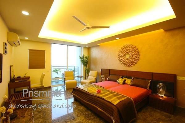 False Ceiling With Fans And Lights For Bedroom With