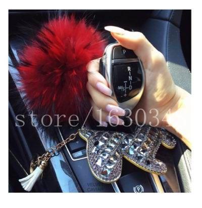 Bling Purse Charm Cute Women Car Accessories Auto Car Keys Ring Fox Fur Pompoms Rhinestone Stones Bling Out Leather Horse charm
