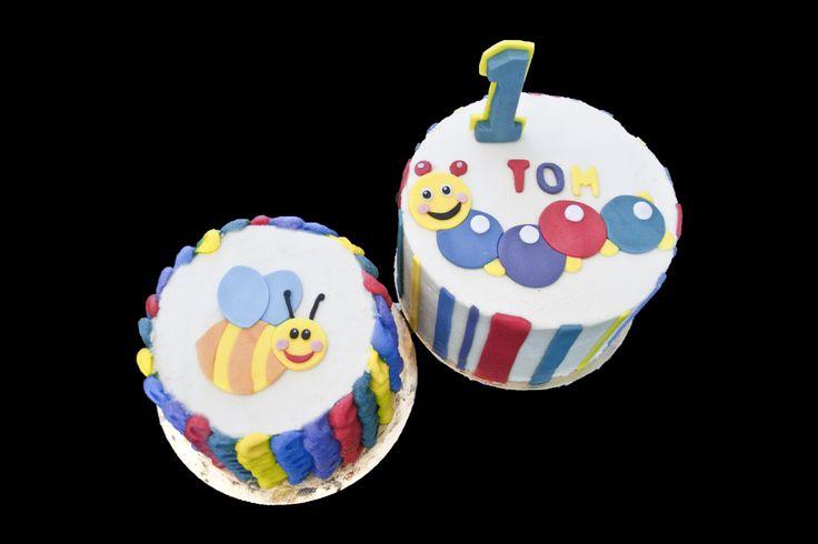 Baby Einstein caterpillar and bee cakes. Gâteaux chenille et abeille Baby Einstein.