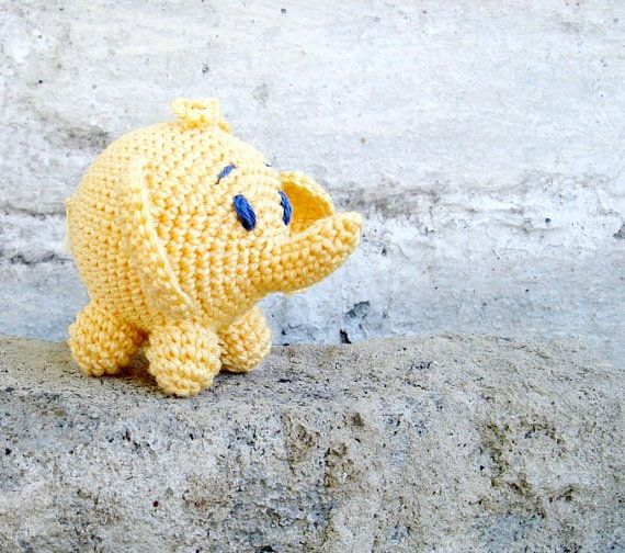 Rattle Baby toy Elephant Crochet yellow toy by MiracleFromThreads, $17.00