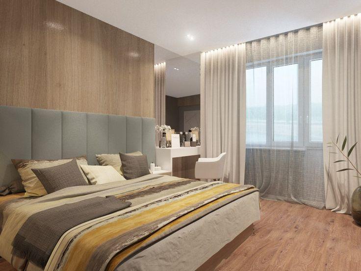 Оформление спальни. Мягкое изголовье кровати. Дизайн-проект спальни в новостройке. Оформление женского уголка в спальне