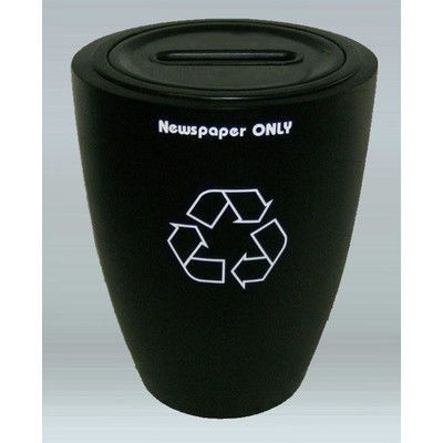 """Allied Molded Products Raleigh 10-Gal 1 - 2 Stream Industrial Recycling Bin Size: 30"""" H x 12"""" W x 12"""" D, Color: Black"""
