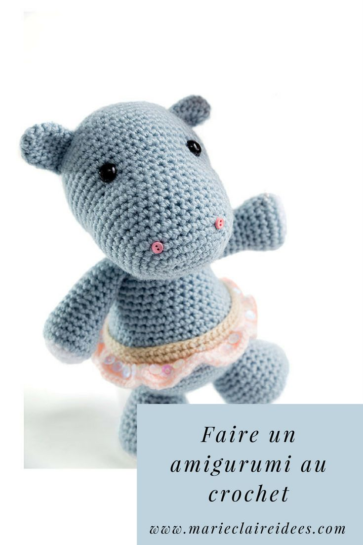DIY enfant : faire un amigurumi hippopotame au crochet  DIY child: make an amigurumi hippopotamus with crochet