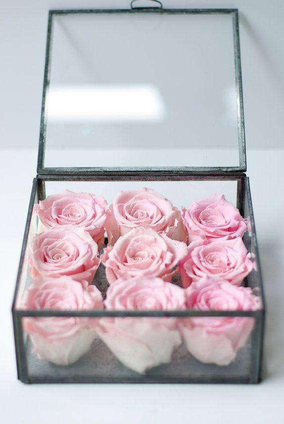 Rose box  preserved pink rose keepsake box  by Floralescence