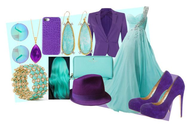 blue and purple by slytheriner on Polyvore featuring MaxMara, Brian Atwood, Kate Spade, Alexis Bittar, Gérard Darel, Maison Takuya and Matthew Williamson
