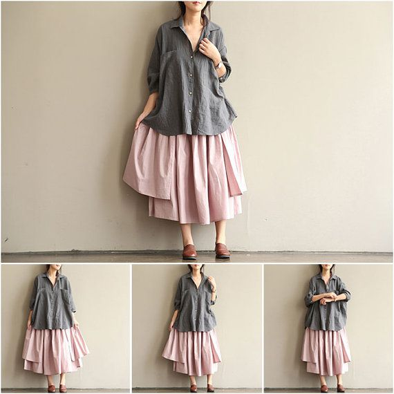 Gray Loose Fitting Shirt Linen Cotton Shirt Oversize by Concertino