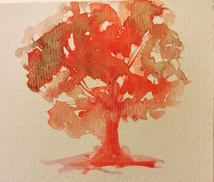 Little #watercolor study #tree #red #autumn #painting #art