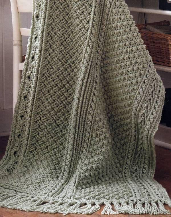 Green Crochet Afghan Pattern : 5 Stunning Aran Afghans Basketweave Sampler Crochet ...