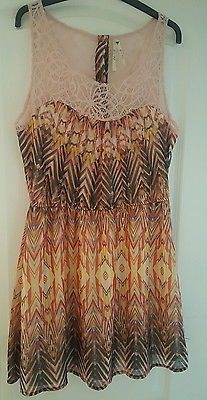 Ladies Summer Party Short Stunning Dress Size Large Multicoloured