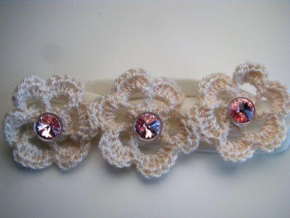 Crochet flowers elastic velvet headband  Swarovski by Chrisin, €8.60